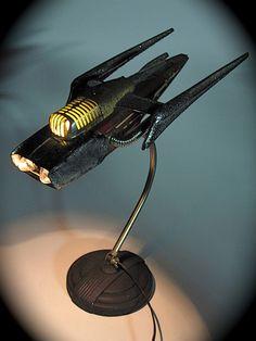 Space cruiser found object junk art sculpture by ultrajunk Junk Art, Rocket Lamp, Metal Design, Art Sculpture, Metal Sculptures, Abstract Sculpture, Bronze Sculpture, Bicycle Headlight, Found Object Art