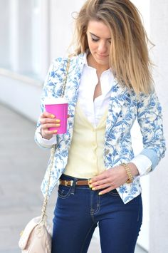 Love all this: printed blazer, layered and tucked button down and cardigan.
