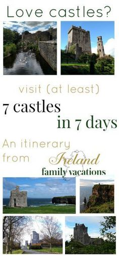 If you have a daring knight or a darling princess- or just really, really love castles!- this is the Ireland itinerary for you! The itinerary includes 7 nights in Ireland (yes, there are a few castles to sleep in along the way!) with easy options to exten Ireland Vacation, Ireland Travel, Galway Ireland, Cork Ireland, Castles To Visit, Dublin Airport, Visit Dublin, Family Travel, Family Vacations