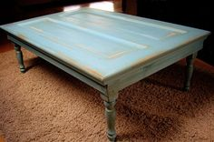 Items similar to Vintage Turquoise Coffee Table on Etsy Turquoise Table, Turquoise Door, Vintage Turquoise, Door Coffee Tables, End Tables, Black And White Pictures, Simple House, Furniture Projects, Crate And Barrel
