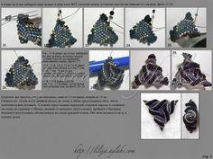 Pattern bijoux: Ciondolo Black Lily.   Twisted peyote triangle.