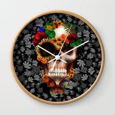 Halloween sugar skull with butterfly WALL CLOCK #wallclock #clock #daisy #roses #floral #flower #skull #skeleton #dayofthedead #diasdemuertos #jackskellingtons #halloween #scarythenight #beforechristmas #animal #bone #tattoo #hippie #hipster #aztec #maya #indian #feather