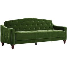 Novogratz Vintage Tufted Sofa Sleeper II Green Velour -- You can find out more details at the link of the image. Sofa Couch, Tufted Sofa, Couches, Chesterfield Sofas, Sofa Upholstery, Vintage Sofa, Velvet Sleeper Sofa, Sleeper Couch, Green Velvet Sofa