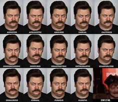 Funny pictures about The Many Faces of Ron Swanson. Oh, and cool pics about The Many Faces of Ron Swanson. Also, The Many Faces of Ron Swanson photos. Parks And Recreation, Ernest Hemingway, Parks And Recs, Nick Offerman, Best Shows Ever, Just For Laughs, Laugh Out Loud, Laugh Laugh, The Funny