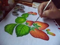 Nany Helena shared a video Block Painting, Fruit Painting, One Stroke Painting, Painting Videos, Tole Painting, Fabric Painting, Fabric Art, Watercolor Paintings, Basic Embroidery Stitches