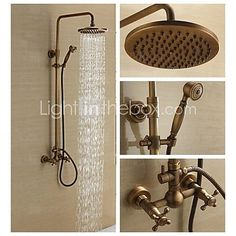 Antique Brass Wall Mounted Two Handle Rain Shower Faucet Set with 8 Inch Shower Head and Hand Shower - USD $258.99
