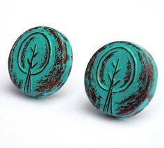Retro Tree Stud Earrings
