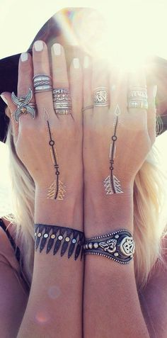 Boho bracelet faux tat and adorable rings | Fashion And Style
