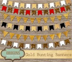 Gold Bunting Banner Clipart by Origins Digital Curio on Creative Market