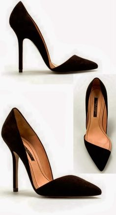 Attractive pair of black pointed toe with stiletto heels