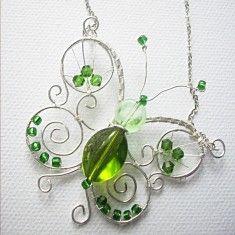 coco le soleil | Wire Wrapping Kette Schmetterling Grün