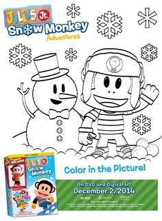 Julius Jr. Snow Monkey Adventures Coloring Page