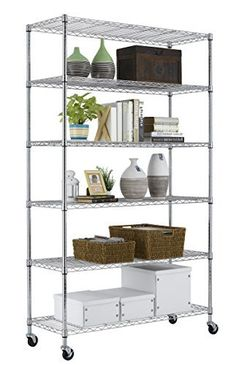 PayLessHere Chrome 6 Shelf Commercial Adjustable Steel Shelving Systems On  Wheels Wire Shelves, Shelving Unit