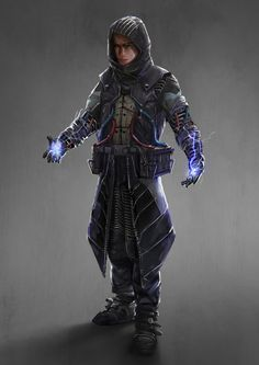 Futureistic clothing, electricity generators. Exposed cables. Hooded. Metal on clothes. ArtStation - Cyber Mage, TJ Foo
