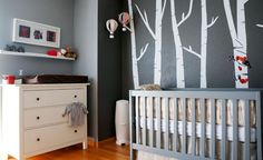 nursery - love the tree graphics and the color palette. I could swap the red/coral for yellow or teal.