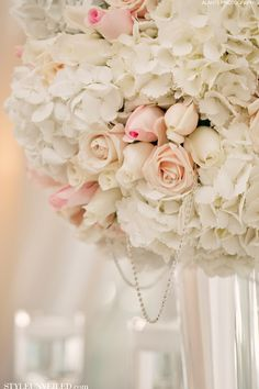 Pink and White Wedding Tablescape with Sparkle / Alante Photography