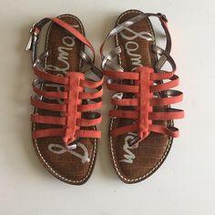 Sam Edelman orange suede sandals Sam Edelman orange suede sandals, worn few times, minor scuff pictured on left strap Sam Edelman Shoes Sandals