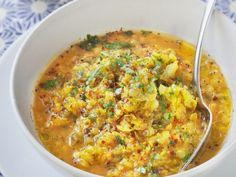 lentille corail, eau, poivron, tomate, curcuma, oignon, ail, huile, gingembre, curry, sel