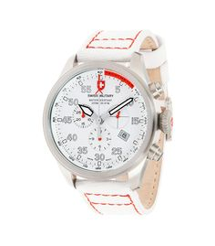 M's Swiss Military chronograph Hawk SNOW PATROL, Swiss Made quartz chronograph mvt. Ronda cal. 5030, 13 jewels, white dial, stainless steel case, screw-down winding crown, sapphire crystal, white canvas strap with red stitching. 20 ATM. Case 44mm. rrp = USD 851