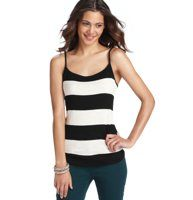 Colorblock Stripe Cami - Wide colorblocked stripes add sporty charm to this soft and stretchy essential. Scoop neck. Spaghetti straps. Banded neckline. Tonal topstitching.