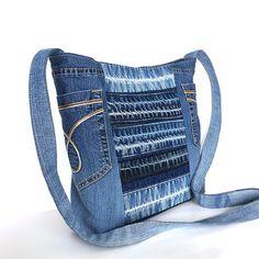 Recycled crossbody bag , Blue denim side purse , Upcycled jean bag , Vegan denim…