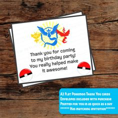 SET OF 12 Pokemon thank you cards, A2 flat, Envelopes included with purchase} postcard style thank you by emartisticdesigns on Etsy https://www.etsy.com/listing/500519279/set-of-12-pokemon-thank-you-cards-a2
