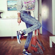 80s Style Hip Hop Outfit. Crop Sweater. Acid Wash Skinny Jeans. Jordans. Sneakers Outfit. Urban Outfit. Swag. Dope