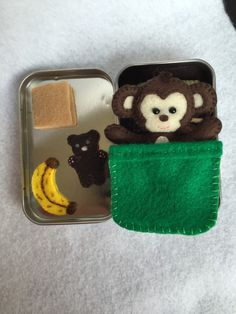 Monkey in tin by MatiesMeadow on Etsy https://www.etsy.com/listing/232147357/lil-maties-monkey-2-green-bed-set-in-tin