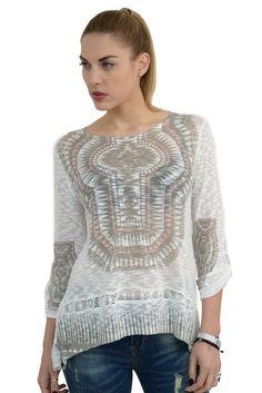Γυναικεία μπλούζα ethnic με ψηφιακό τύπωμα σε άνετη γραμμή.Είναι ελαφρώς μακρύτερη στο πίσω μέρος και έχει μακριά μανίκια τα οποία γυρίζουν με κουμπί και γίνονται 3/4.Το ύφασμα της είναι εξαιρετικής ποιότητας ελαστικό βαμβάκι βισκόζη. Spring Summer 2016, Lace, Collection, Tops, Women, Fashion, Moda, Fashion Styles, Fashion Illustrations