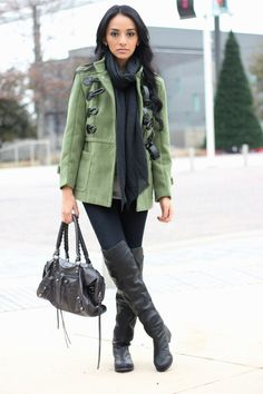"""Maytedoll: """"Get the same look for less"""" Kim Kardashian army green coat & over the knee boots"""