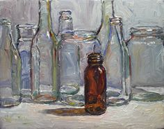 """Brown Bottle"" - Original Fine Art for Sale - © Raymond Logan"