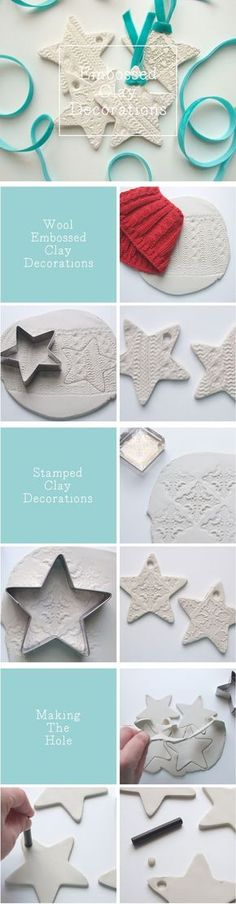 Embossed clay star christmas decorations made using air dry clay. Polymer clay could also be used for these.: