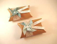 Boîte à dragées coussin kraft dentelle + moulin à vent vert menthe - cadeau de remerciement invités  anniversaire, baptême, mariage