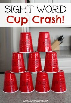 Gross Motor Sight Word Game: Cup Crash!  Read each word on the cup and then stack them up to make a tower.  Then take a ball and knock it down!