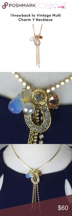"""Betsey Johnson Throwback to Vintage Y Necklace - Gold-tone crystal embellished charm necklace - Lobster clasp - Approx. 15.5"""" length with 3"""" extension - Approx. 0.25-1"""" charms This Y Necklace has several charms including a flower, horseshoe and several crystal beads.  Guaranteed authentic, receipt available to buyer.  Beware all the fake Betsey out there, it's easy to tell the junk but there are some pretty convincing dupes out there, too!  This necklace is really beautiful and can take you…"""