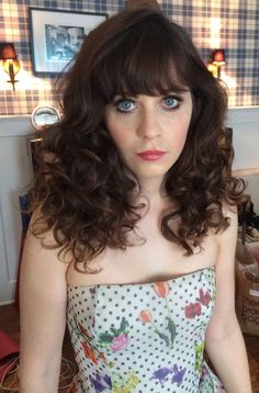 Zooey Deschanel has the cutest styled curls! ______________________________________________ curls rollers hair styles