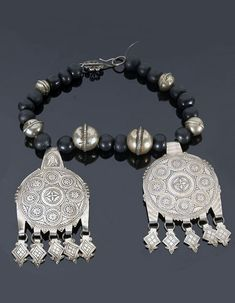 Morocco - Anti Atlas region, Ahl-Massa, Aït Ba Amra   Necklace; Silver and black stone beads combined with two silver and niello pendants   Sold ~ (May '15)