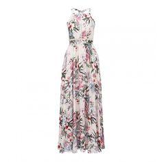 Elka Petite Maxi Dress (1 480 ZAR) ❤ liked on Polyvore featuring dresses, white floral print dress, petite white dresses, floral maxi dress, petite length maxi dresses and flower print maxi dress