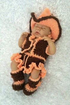 This is an adorable crocheted baby girl Cowgirl Outfit. Includes vest, skirt with cute little ruffled edge, Cowgirl Hat, and Cowgirl booties. This will be custom made in the colors of your choice, This item is made from acrylic yarn, Will be made from redheart yarn or Hobby Lobby I love this yarn depending on the colors you choose. Available in sizes 0-3 months and 3-6 months.