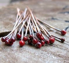 18 Gauge Copper Headpins Set. Red Ball End Headpins 2 Inch Long. Enameled…