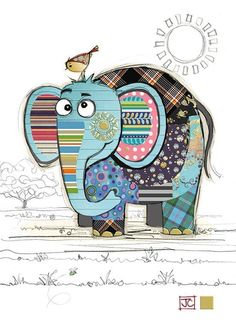 Eric Elephant bug art greeting card to drawing elephant Eric Elephant Elephant Quilt, Elephant Art, Binky Bunny, Art Projects, Sewing Projects, Art Carte, Bug Art, Animal Quilts, Fabric Art