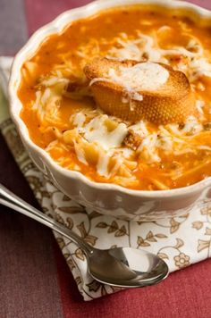 Lasagna Soup - I love this recipe but I always make some adjustments.  I use Italian sausage instead of ground chuck, I use spaghetti/pasta sauce instead of tomato sauce, I only use 1 can (15 oz.) of chicken broth and I add heavy cream and cream cheese and basil! It's ALWAYS a crowd pleaser!
