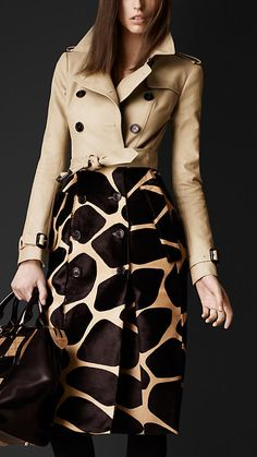 Contrast Animal Print Trench Coat | Burberry