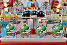 Sweet Memories Party D's Birthday / Super Mario Bros - Photo Gallery at Catch My Party Super Mario Bros, Super Mario Birthday, Mario Birthday Party, Super Mario Party, First Birthday Parties, Birthday Party Decorations, 7th Birthday, Birthday Ideas, Yoshi