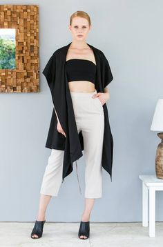 #Nisse #Canadian #BlueMountain #LadiesFashion #SpringSummer2016 #CroppedTop #HighWaistedPant Duster Coat, Spring Summer, Therapy, Jackets, Minimalist, Shopping, Fashion, Down Jackets, Moda