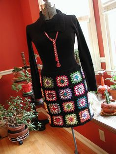 Granny Square Skirt...... omg I love this! I think I might have to make me one.