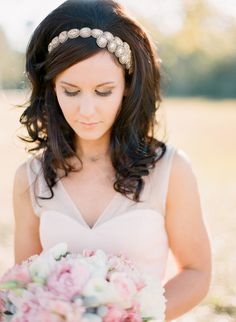 we ❤ this!  moncheribridals.com  #retroweddinghair #vintageweddinghair #longweddinghair