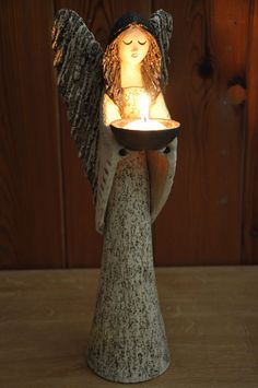 Ceramic Candle Holder for 2020 - Ideas on Foter Ceramic Clay, Ceramic Pottery, Pottery Art, Ceramics Projects, Clay Projects, Pottery Angels, Clay Angel, Ceramic Candle Holders, Ceramic Lantern
