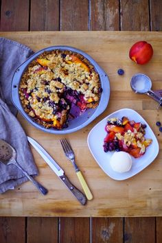 Poppytalk: Goodbye Summer Pie: Nectarine + Blueberry Pie With Sweet and Salty Oat Crust