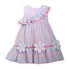 Bonnie Jean Sleeveless Floral A-Line Dress - Baby Girls Baby Frock Pattern, Baby Girl Dress Patterns, Girls Frock Design, Baby Dress Design, Baby Frocks Designs, Kids Frocks Design, African Dresses For Kids, Little Girl Dresses, Kids Dress Wear
